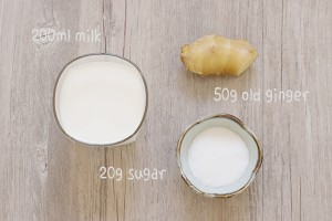 Ginger Milk Pudding Ingredients